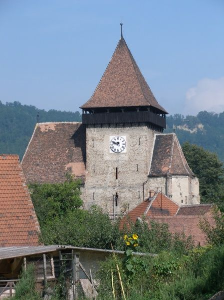 View of a medieval fortified church at Axente Sever, Sibiu in Transylvania, Romania