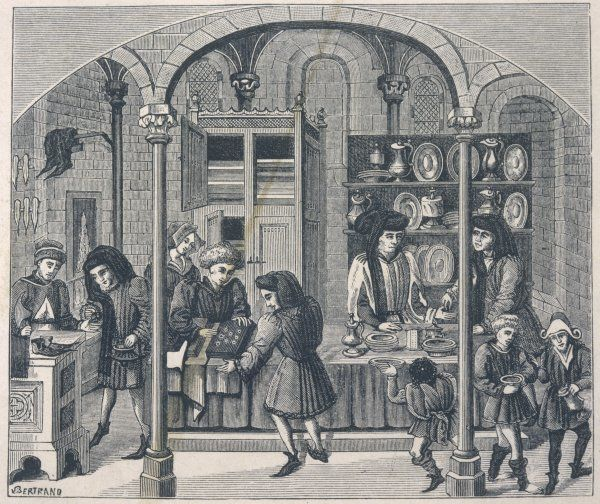 Shops under a covered market in France, including a goldsmith, a shoemaker and a dealer in snuff