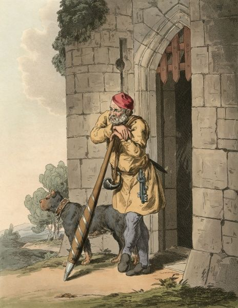 The porter or warder, gate keeper of a castle, with his mastiff and his mighty club to discourage unwelcome visitors, his horn to sound a warning, and of course his keys. Date: 1480