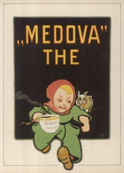 A boy saves his cup of steaming MEDOVA TEA from his puppy