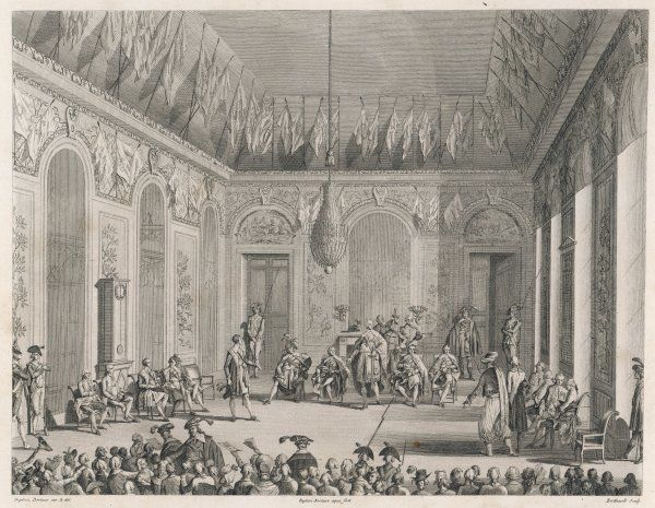 Formal audience of the Directoire in the Palais du Luxembourg, Paris, held by the five elected members, marking the nominal termination of the revolutionary period