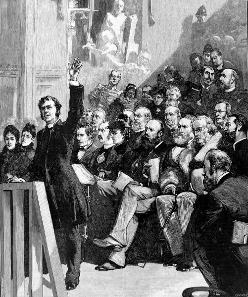 Engraving showing a meeting held at the Guidhall, London, in 1890 to raise funds on behalf of Russian Jews