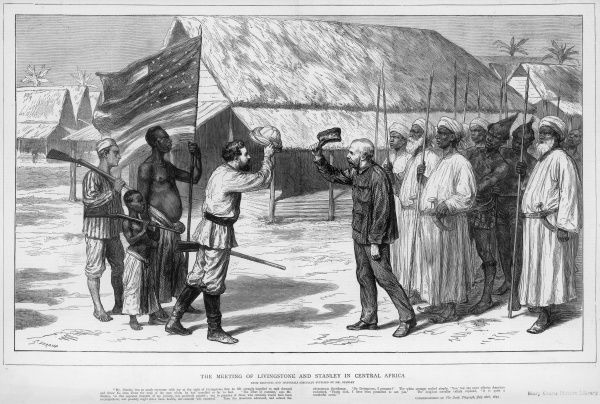 Engraving showing the meeting between Sir Henry Morton Stanley (1841-1904) (on left, raising hat) and David Livingstone (1813-1873) (on right, raising hat) at Ujiji, Tanganyika, 10th November 1871. Stanley, a British-American explorer and journalist