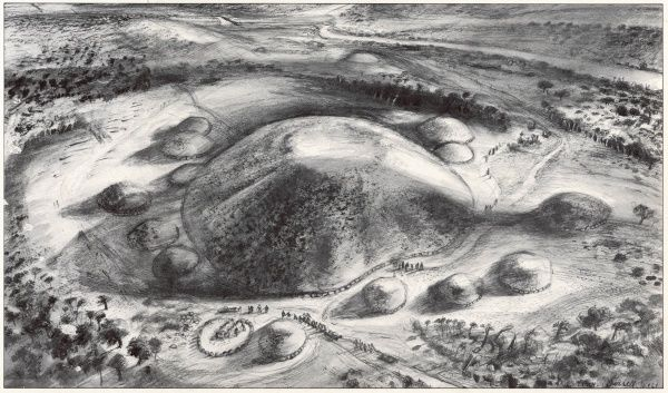 Artist's impression of the Megalithic burial mound at Knowth in Ireland near Newgrange beside the River Boyne, excavated by Dr George Eogan in July 1967