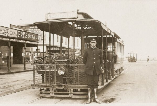 A Melbourne Cable tram (destination - North Fitzroy) and driver (in his uniform) - 1925