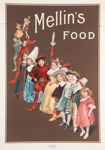 A group of small children in fancy dress line up to advertise Mellin's food