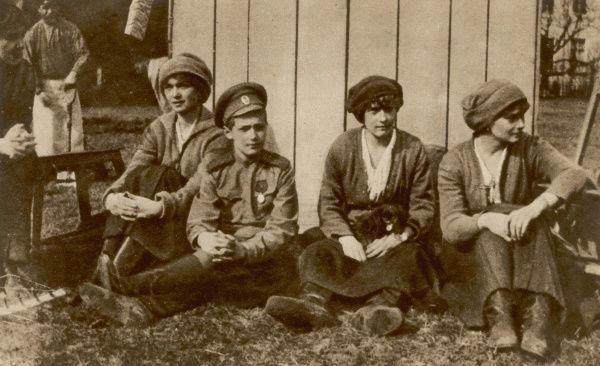 Members of the Russian royal family resting from their work of laying out a kitchen garden at Tsarskoe-selo, during the 16 months of their captivity
