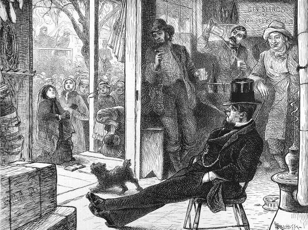 Engraving showing a group of American men in a whisky saloon as, outside, members of the Women's Crusade, a temperance movement, lay siege to the venue, Ohio, 1874