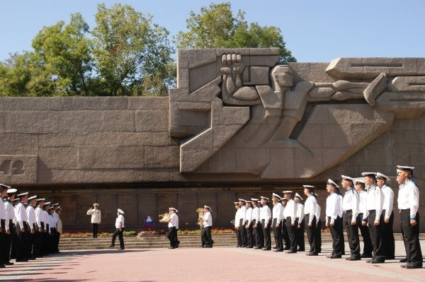 View of the Soviet Memorial to the Russian Navy of World War Two, in Sevastopol, Ukraine, with marines on parade. Sevastopol is where Russia's Black Sea Fleet is based