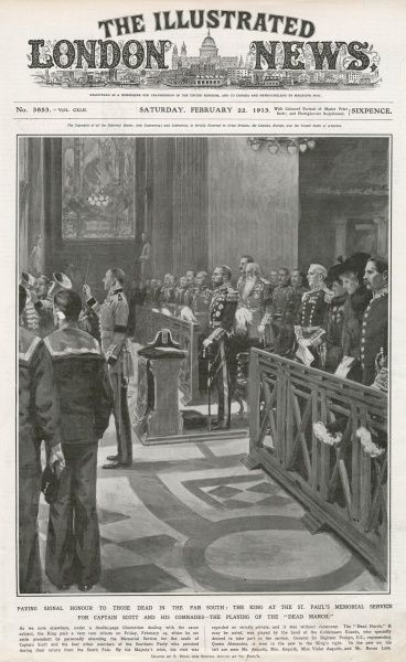 King George V personally attending the memorial service for the souls of Captain Scott and the four other members of the Southern Party who perished during their return from the South Pole in March 1912