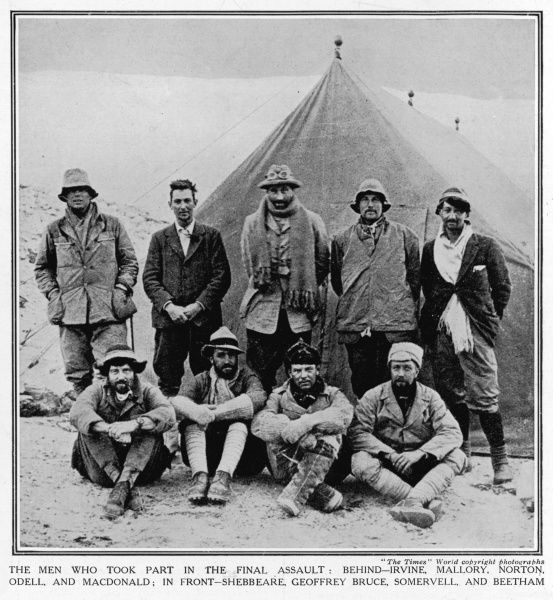 Photograph showing the 1924 Everest Expedition team in their camp. Those pictured are back row, left to right: Irvine, Mallory, Norton, Odell and MacDonald. Front row, left to right: Shebbeare, Geoffrey Bruce, Somervell and Beetham