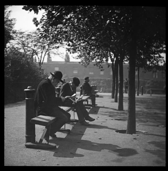 Men sitting on benches in an unidentified London park. A terrace of houses can be seen in the background