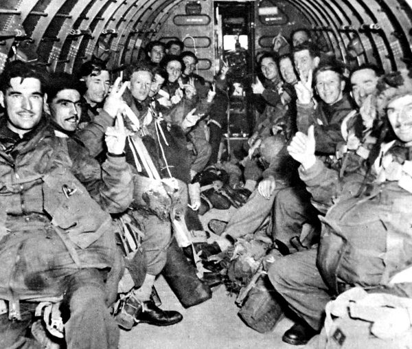 Photograph showing a unit of the British First Airborne Division in a glider on the way to Arnhem, September 1944