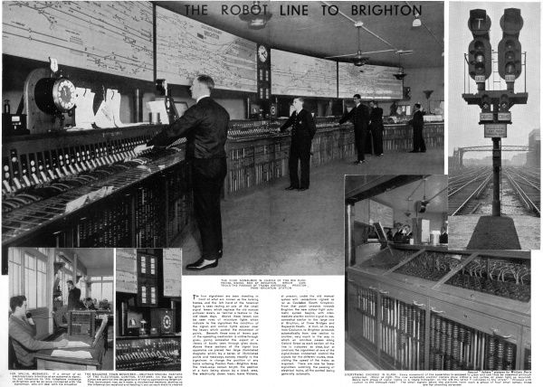 The four electrical signal men in charge of the large electrical signal box at Brighton which controls the passage of trains entering Preston Park, Brighton Station