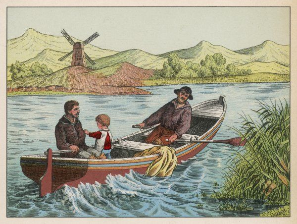 Two men take a small child in their boat on a river near a windmill
