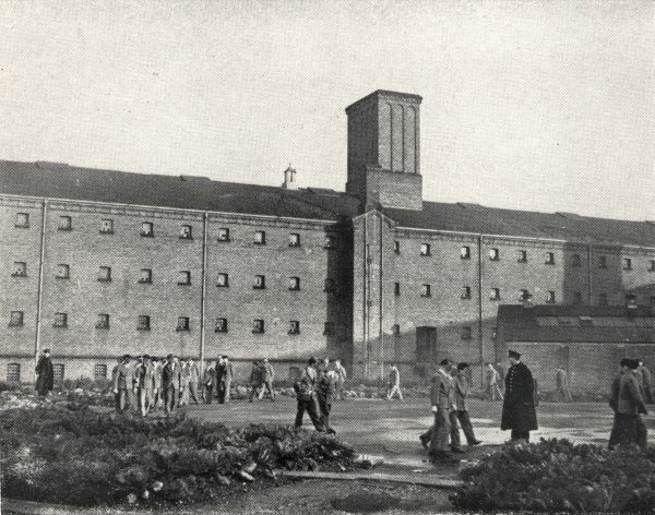 Inmates in the exercise yard at Wandsworth Prison, south west London