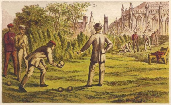 A group of men playing bowls on a lawn
