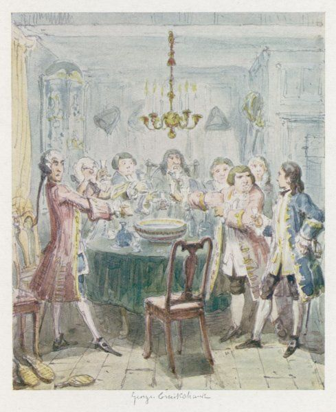 A group of gentlemen stand around the punchbowl, with glasses raised, to honour a toast