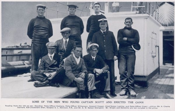 Some of the Men who found the bodies of Captain Scott and his companions and erected a cairn, pictured on their return to New Zealand. From left, (standing), Petty Officer Keohane, Petty Officer Williamson, Steward Hooper, Chief Stoker Lashley