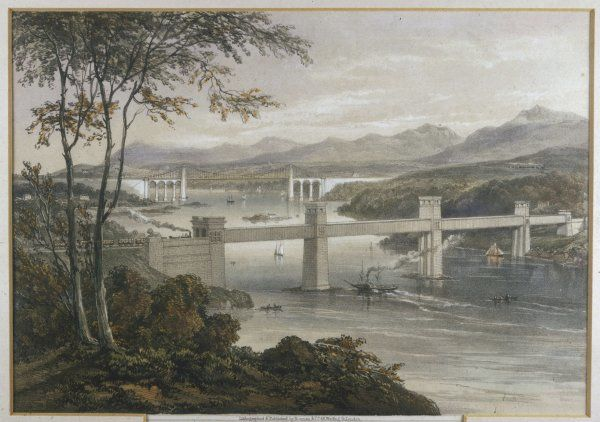 Ships passing under the Menai Suspension and Tubular Bridge built by Thomas Telford, opened in January 1826
