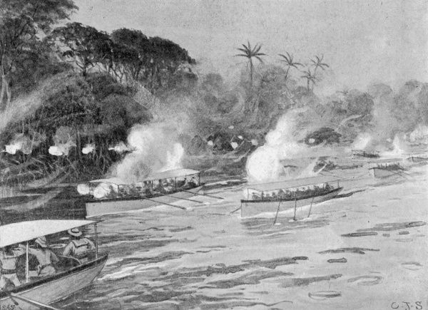 Boats bombarding the enemy's position on the River Jong in Sierra Leone, West Africa during the Mendi expedition where the 3rd battalion of the West Indian regiment were sent to suppress an uprising