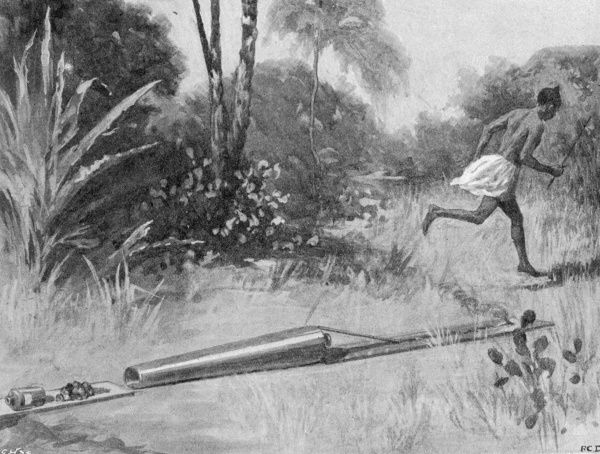 The native method of firing a cannon (lighting it and sprinting away) during the Mendi expedition in Sierra Leone, West Africa in 1898