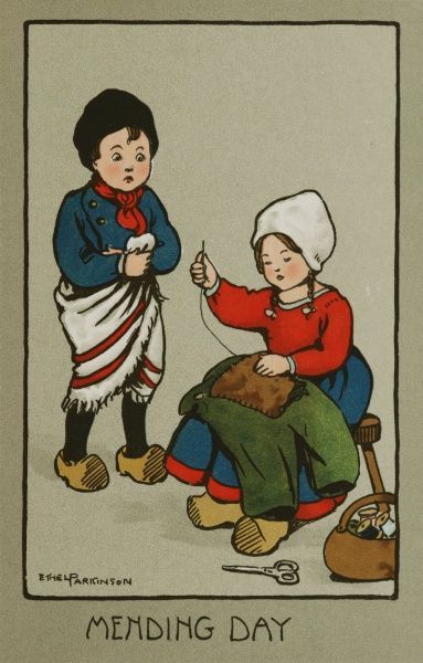 Mending Day, by Ethel Parkinson. A little Dutch girl sits mending a little boy's breeches, while he stands uncomfortably with a towel round his waist
