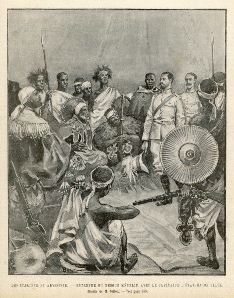 The meeting of Menelik, one of Ethiopia's greatest emperors with Major Salsa of the Italian envoy
