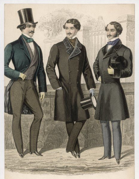 Three sobre looking French gentlemen in top hats, strapped trousers & double- breasted coats: one with a fur collar, one like a frock coat but without the waist seam
