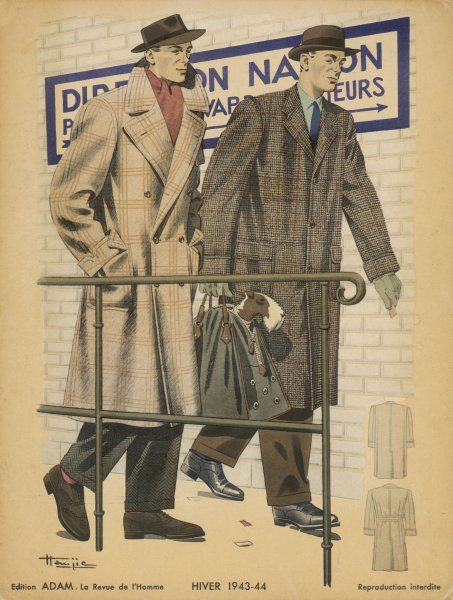 Two men off to catch a train wear coats in window pane check wool, trilby hats and trousers with turn-ups. One man carries his wire-haired fox terrier in a zip-up bag