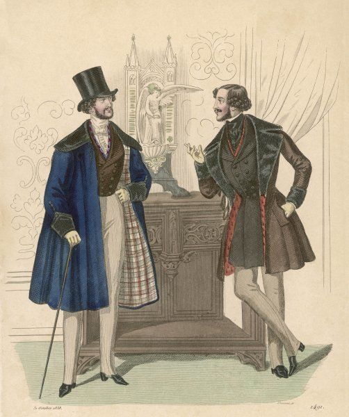 Strapped pantaloons (inside seam visible), blue sleeved mantle with cape collar, plaid lining & antique cuffs. Short brown coat with fur collar & cuffs & red lining