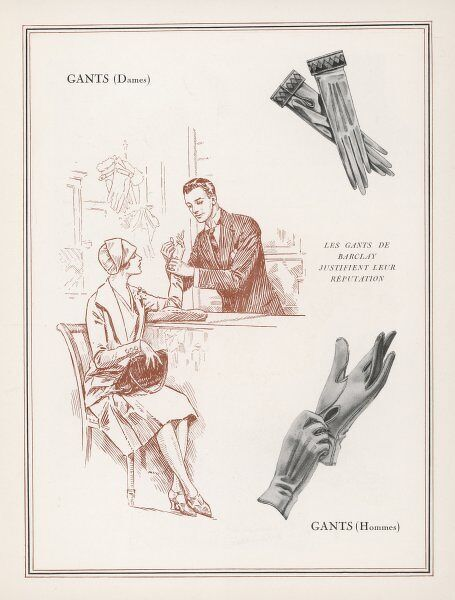 A lady tries on some gloves. An advertisement showing women's gloves with a decorative stitched cuff & a pair of men's gloves