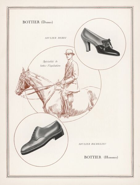 An advertisement for men's and women's shoes