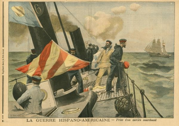 A Spanish gunboat stops and takes a merchant vessel