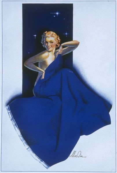 Blonde pin up girl by Merlin Enabnit, posing coquettishly behind a midnight blue blanket. Enabnit was born in Des Moines, Iowa and was a successful commercial artist. He produced 24 pin up illustrations for The Sketch during the 1940s