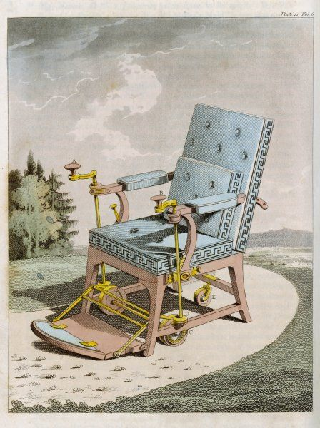 Merlin's 'Mechanical Chair' has built-in controls enabling it to be adjusted and propelled in any required direction, at the pleasure of the operator