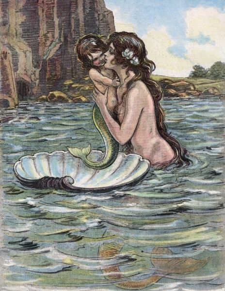 A mer-mother with her mer-child Date