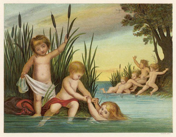 Children are frightened at the sight of the mermaid as they bathe