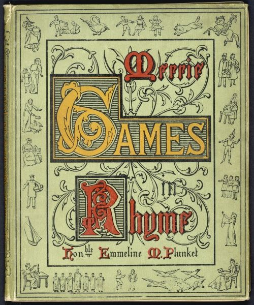 An ornate cover design to a book of children's games entitled Merrie Games in Rhyme