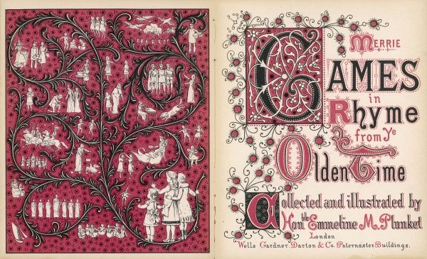 An ornate title page and frontispiece to a book of children's games entitled Merrie Games in Rhyme from Ye Olden Time