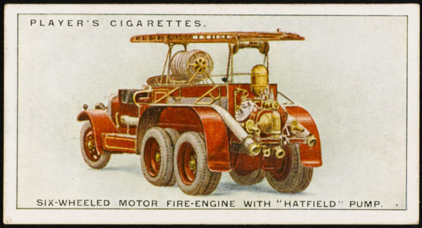 One of two motor fire engines completed by Merryweathers in 1927. This vehicle is a six- wheeled version, with a 'Hatfield' pump capable of delivering 400 gal a minute