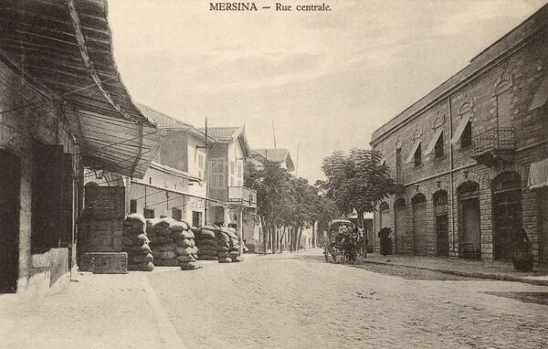 Mersin, Turkey - Central Street. The site of Turkey's largest port today (sadly not visible here...). Date: circa 1910s