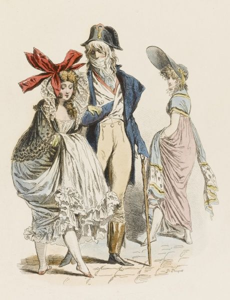The extravagant fashions of the MERVEILLEUSES (or sometimes INCROYABLES) are adopted in derisive emulation of the costumes of the erstwhile aristocrats