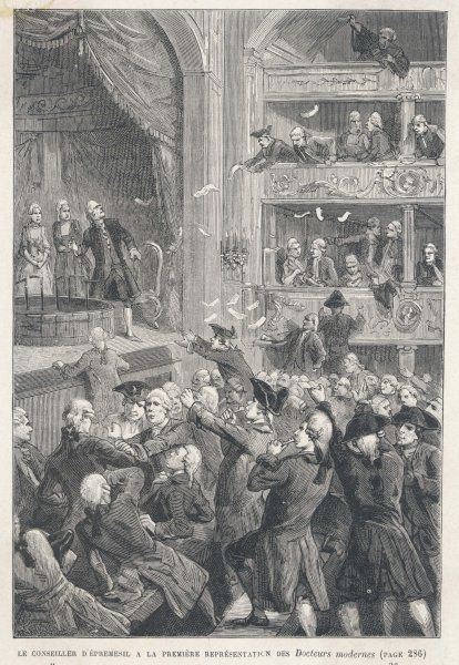 Mesmer satirised in the theatre : his supporter, D'Epremesil, throws leaflets to the audience