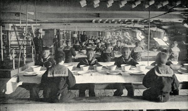 Scene in the boys' mess room on the Training Ship Wellesley, on the River Tyne at North Shields, Northumberland. In 1868, James Hall and other local businessmen set up a charity to provide shelter for Tyneside waifs and train young men for naval service