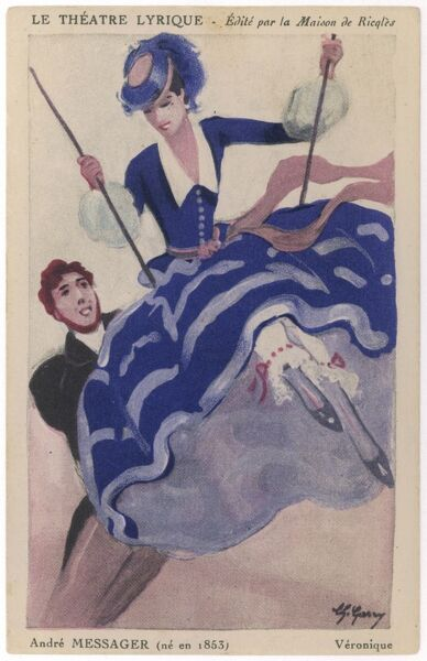 Poster for a 1950s (?) production of this ever- popular operetta. Veronique swings, her friend Florestan pushes