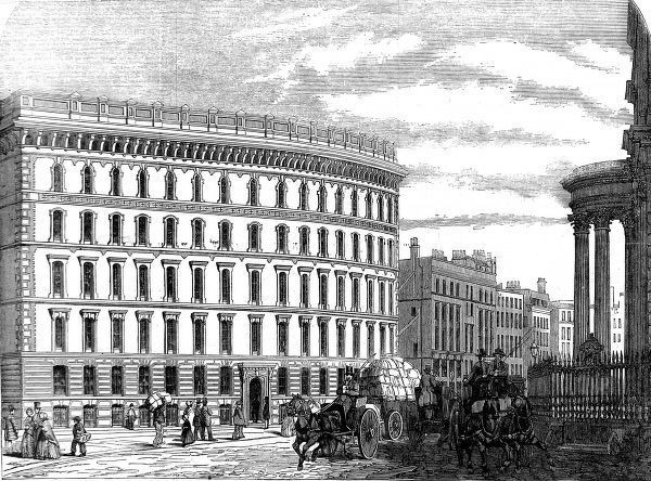 Engraving showing Messrs. Cook, Sons and Company's warehouse, St. Paul's Churchyard, London, 1854
