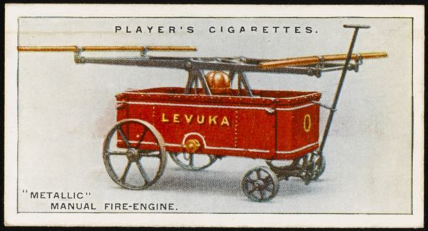 'Metallic' manual fire-engine, designed by Merryweathers for use on Fiji, for plantation work