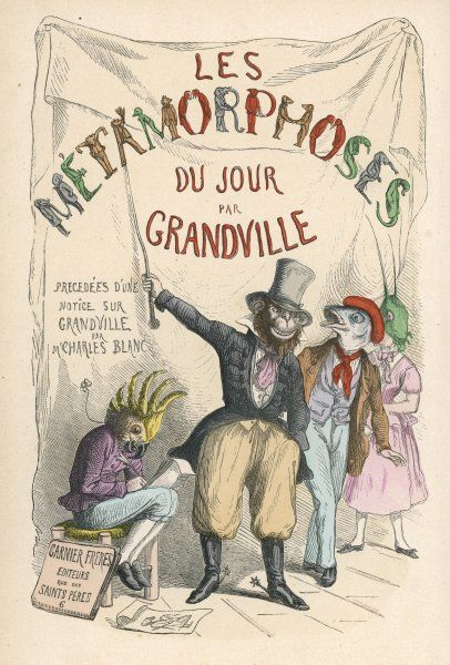 The title-page of Grandville's album, showing animals as showmen proclaiming his book