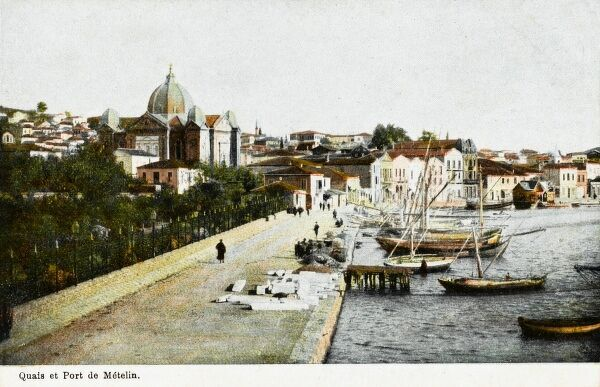 Metelin - Quay of the Port, Lesbos, Greece Date: 1920s